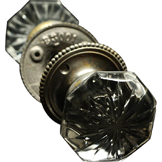 Etched floral glass knob with nickel base & dotted rosettes