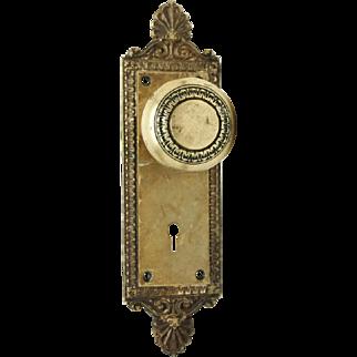 Set of brass Jerome back plates & doorknobs