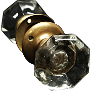 Octagon smooth glass doorknob set