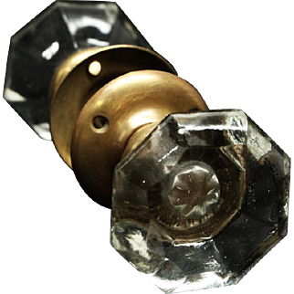 Octagon smooth glass doorknob set