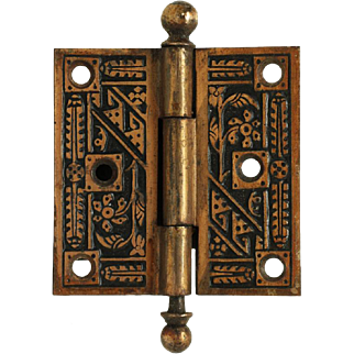 Small ball tip bronze washed ornate hinge