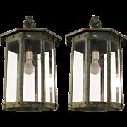 Pair of steel exterior lantern sconces