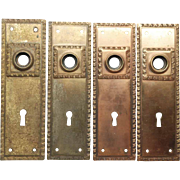 Set of Four Bronze Back Plates with Keyholes