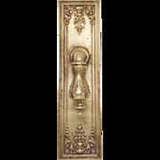 Single Antique Polished Ornate Lever Knob & Plate