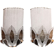 Pair of Beaded Art Deco Wall Sconces