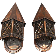 Pair of Tudor Style Copper Lantern Sconces