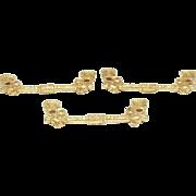 Set of Three Gilded Ornate Figural Pulls