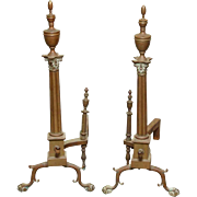 Pair of Bronze Corinthian Column Andirons