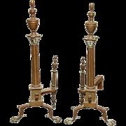 Pair of Bronze Corinthian Column Andirons