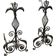 Pair of Unique Large Hand Wrought Andirons