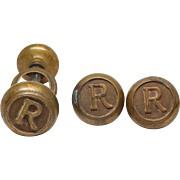 Pair of Bronze Emblematic R Knobs