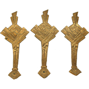 Set of Three Gilded Brass Deco Tie Backs