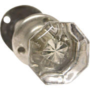 Octagon glass closet knob with nickel shank