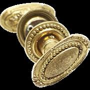Antique Cast Brass Beaded Oval Knob Set