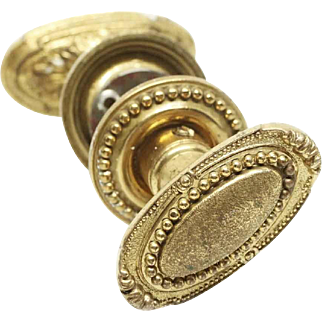 Antique Cast Brass Beaded Oval Knob Set