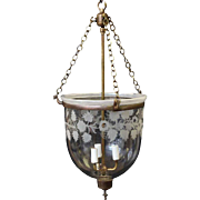 Antique Crystal Bell Jar Light with Three Arms