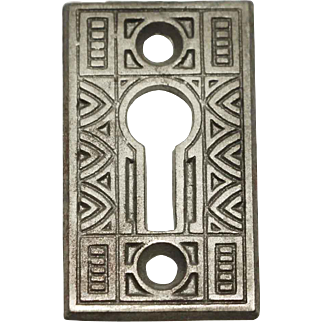 Antique Art Deco Iron Keyhole Escutcheon Plate