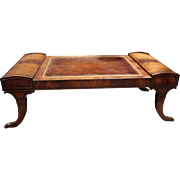 Antique Leather Top Claw Foot Coffee Table