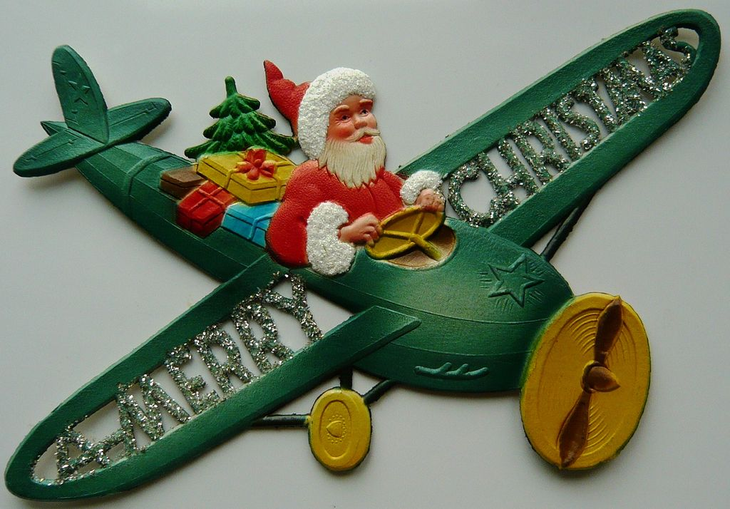 Xm4 4 vintage flat dresden santa in an airplane decor sold for Aircraft decoration