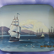 Vintage Russian Ship Lacquer Box Fedoskino