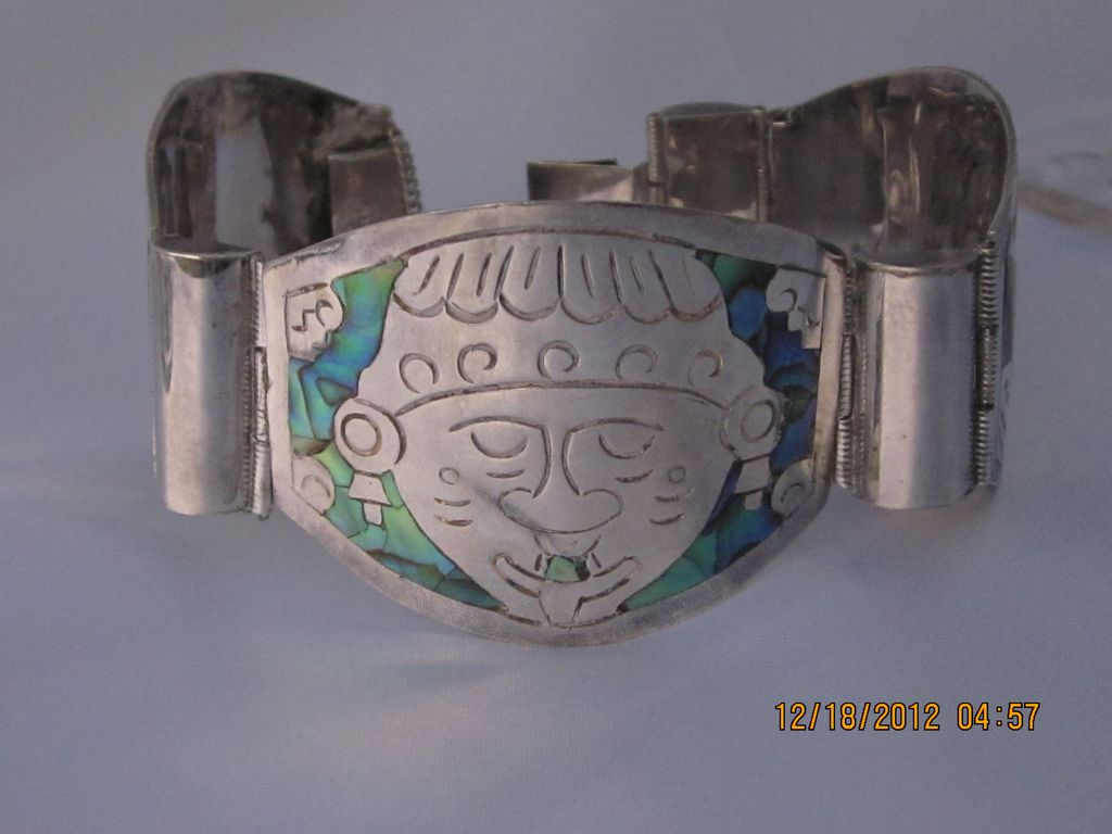 """Heavy Sterling  Inlaid Mexico Bracelet 7.25"""""""