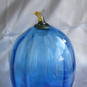 Hand Blown Blue & Amber Glass Gourd