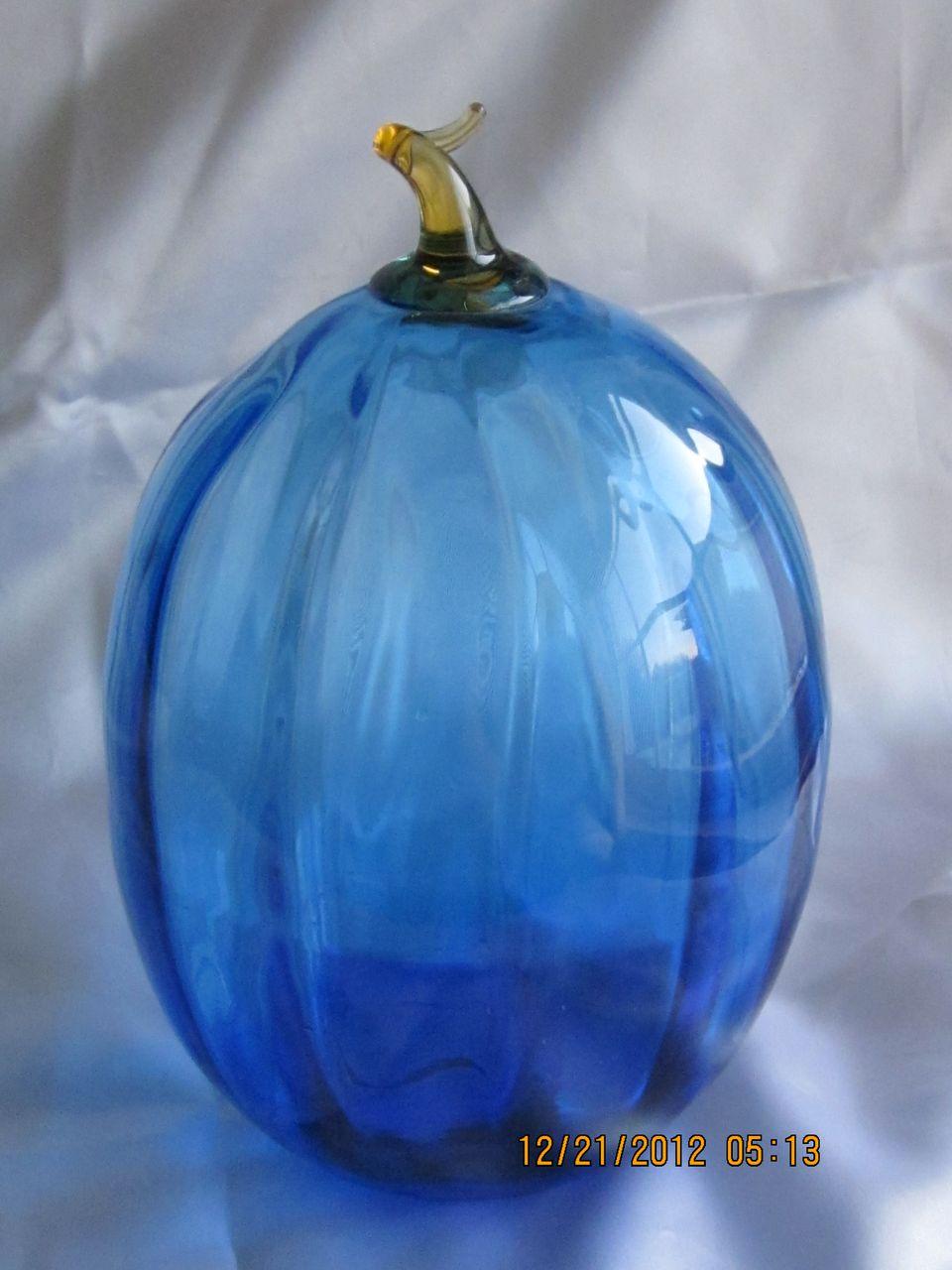 Hand Blown Blue & Amber Glass Gourd