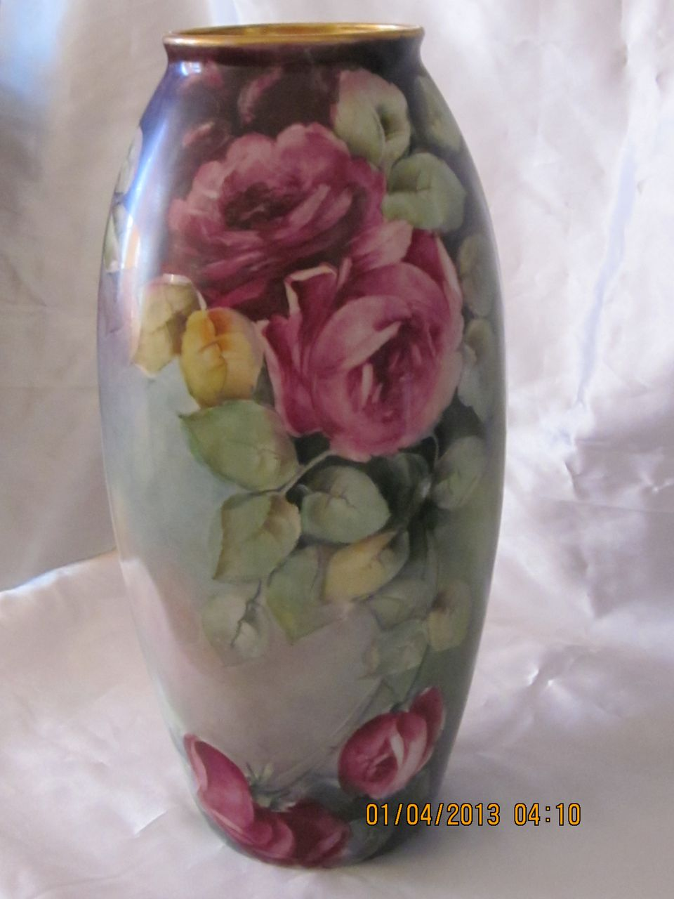 Hand Painted Roses Belleek Vase 15""