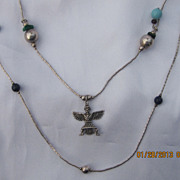 Vintage Sterling Charms  Zuni Necklace 48""