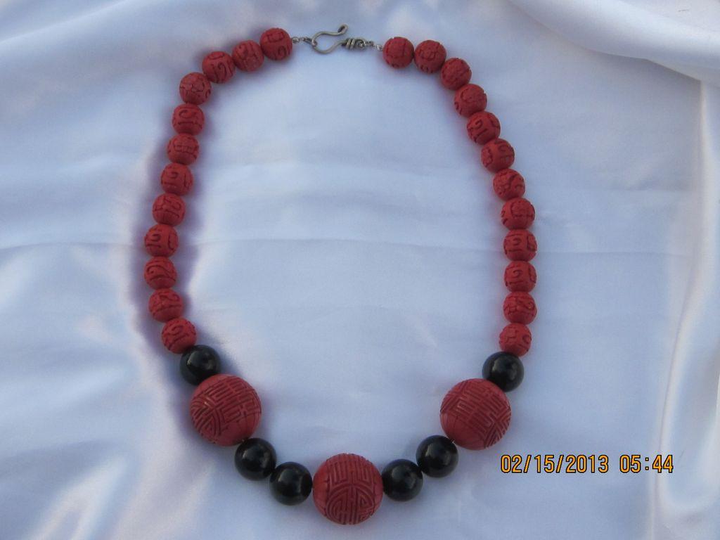 Vintage Chinese Cinnabar Necklace 23""