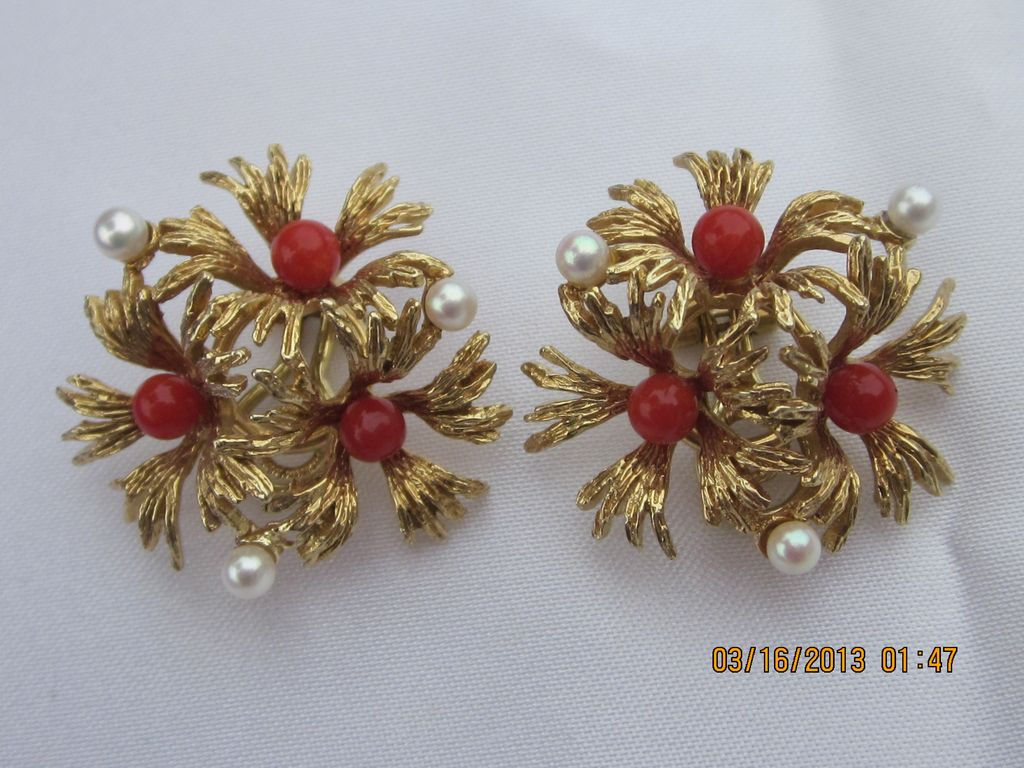 Estate 14KT Yellow Gold Coral & Pearl Earrings