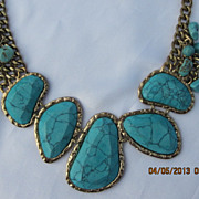 """Huge Silver Plated Turquoise Necklace 20"""""""