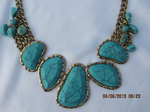 Huge Silver Plated Turquoise Necklace 20""