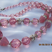Vintage Pink Austrian Crystal Necklace 18.5