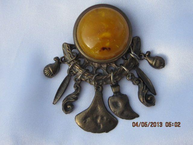 Vintage Bronze Tone & Butterscotch Brooch