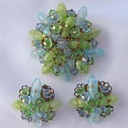 Blue & Green Glass Brooch & Earrings Set