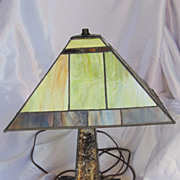 Vintage Slag Glass Lamp