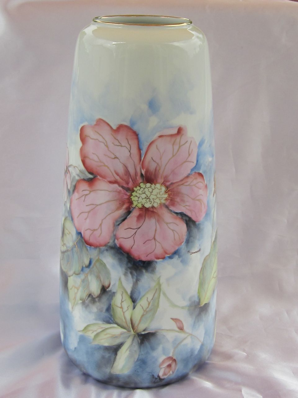 "Hand Painted Gerold Bavaria Vase 13.25"""