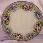 Signed Hand Painted Roses Plate 10.75""