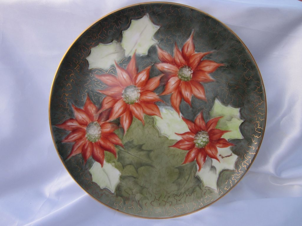 Hand Painted Signed Poinsettia Plate 10.5""
