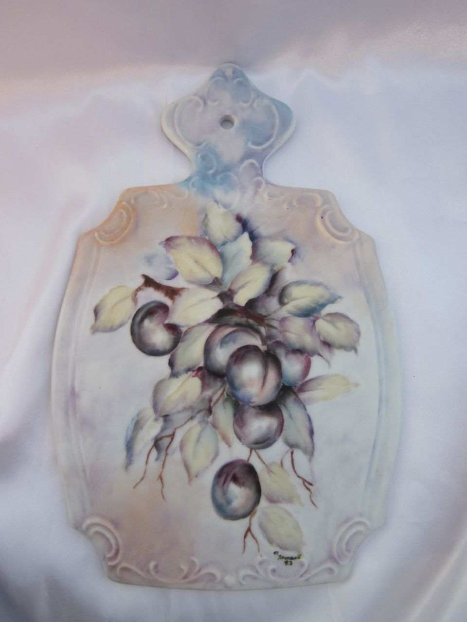 Hand Painted Plums Porcelain Trivet