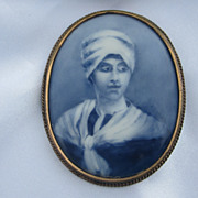 Antique Hand Painted Porcelain Portrait  Brooch