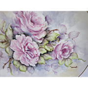 Signed Hand Painted Roses Plate 10.25