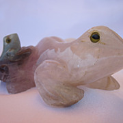 Carved Chinese Quartz Frog Figure