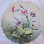Old Austria Hand Painted Morning Glory Plate