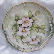 Hand Painted Pink Flowers Pierced Plate