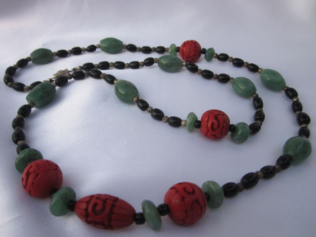 Chinese Cinnabar-Jadeite- Onyx Necklace 30""