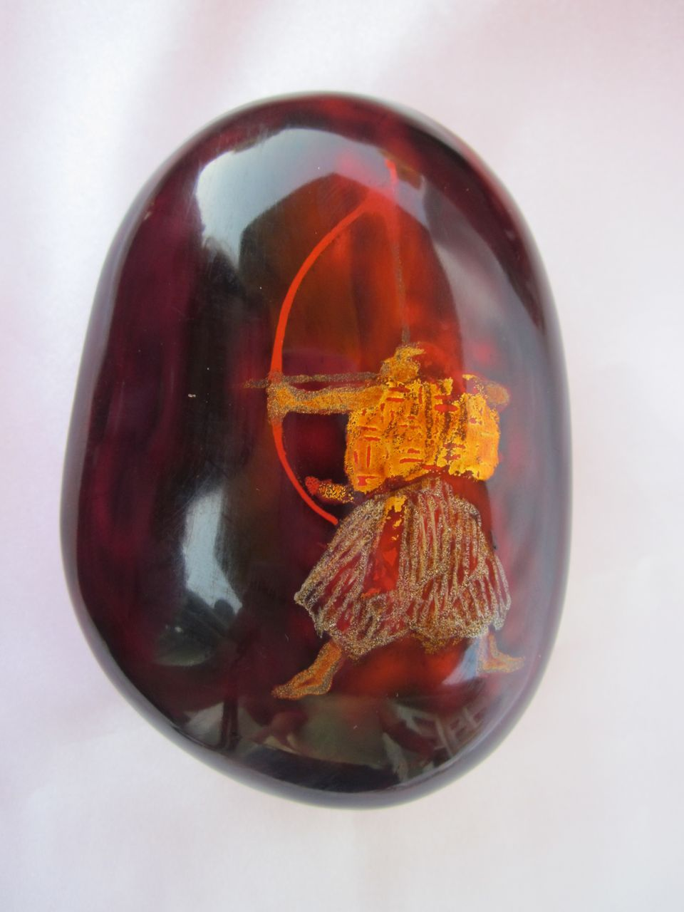 Signed Japanese Lacquer Stone Paperweight