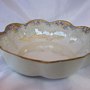 Haviland Luster Hand Painted Roses Bowl