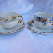 Two Limoges Hand Painted  Cup  & Saucer Sets